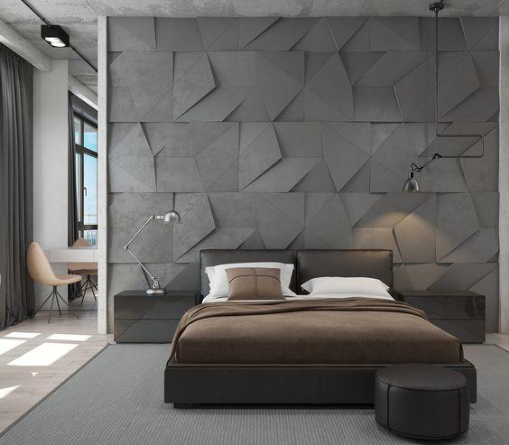 акцентная стена у изголовья кровати