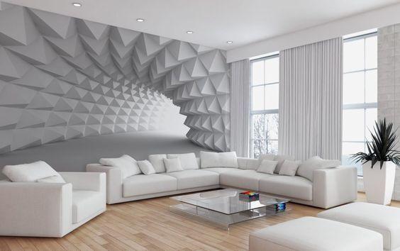 абстрактные фотообои в гостиной
