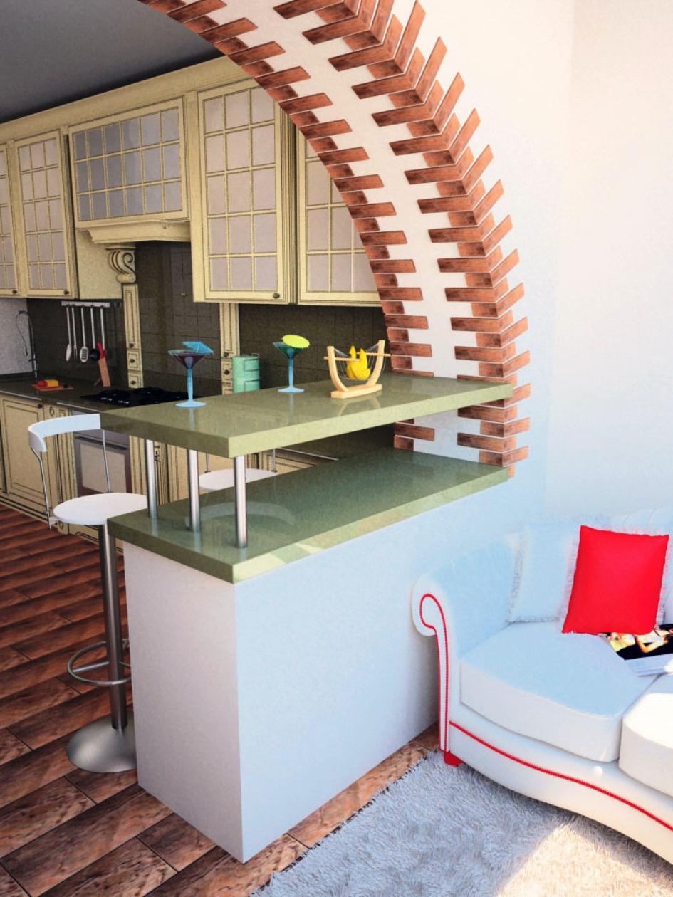 как сделать барную стойку с балконного проема на кухне