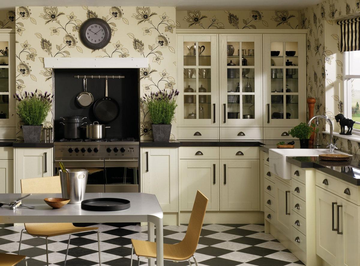 кухонный интерьера с обоями