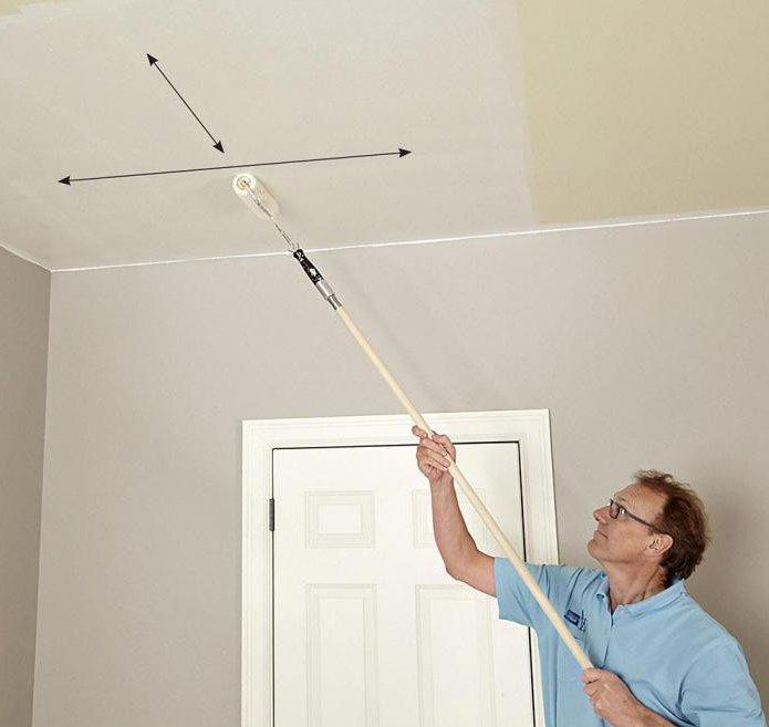 как правильно красить потолок